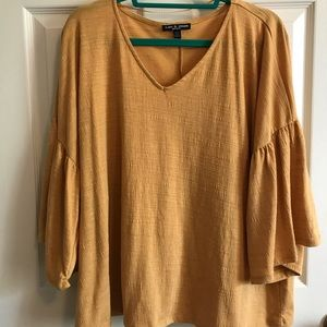 yellow plus size blouse, ruffle/flowing sleeves